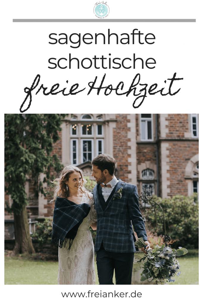 schottisches Brautpaar auf dem Weg zur freien Trauung