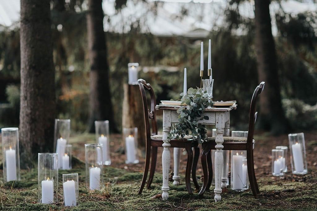 Erinnerungsrituale in der freien Hochzeit Trautisch Kerzen in Windlicht