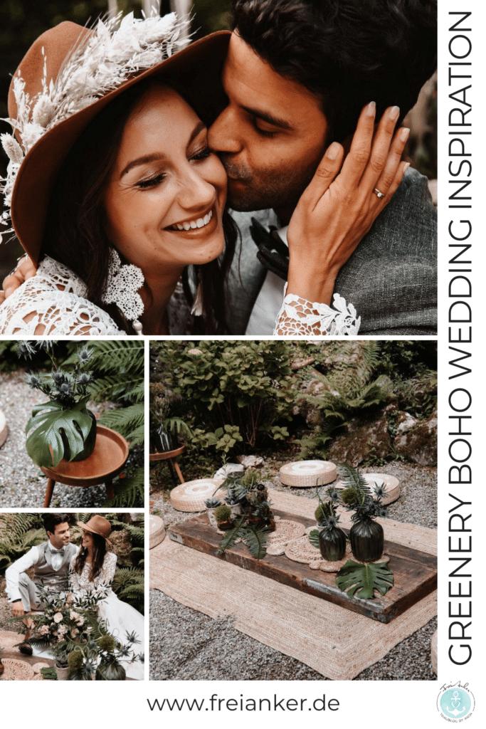 Greenery Boho Wedding - intime kleine Sommerhochzeit unter freiem Himmel Moodboard