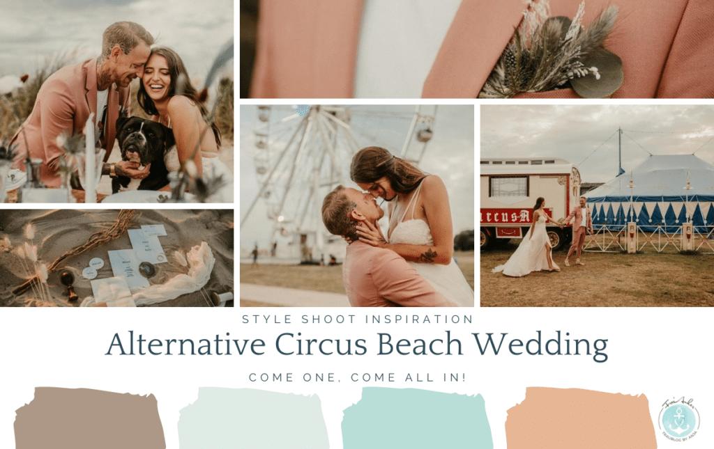 Unkonventionelle Hochzeit. Anders feiern am Strand ohne große Feier mit Zirkuszelt