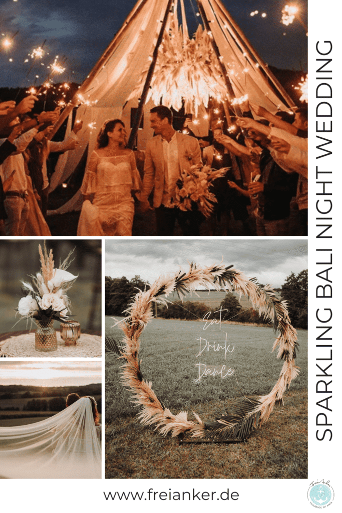 Sparkling Bali Night - hippe Outdoor Hochzeit mit Pampasgras und Tipi Zelt