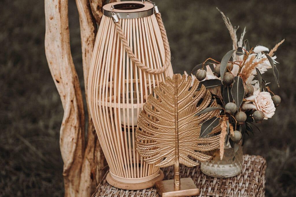 Sparkling Bali Night - Hochzeitsdekoration Windlicht Monstera