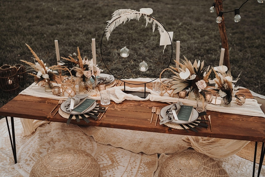 Sparkling Bali Night - Tisch Deko Hochzeit Boho