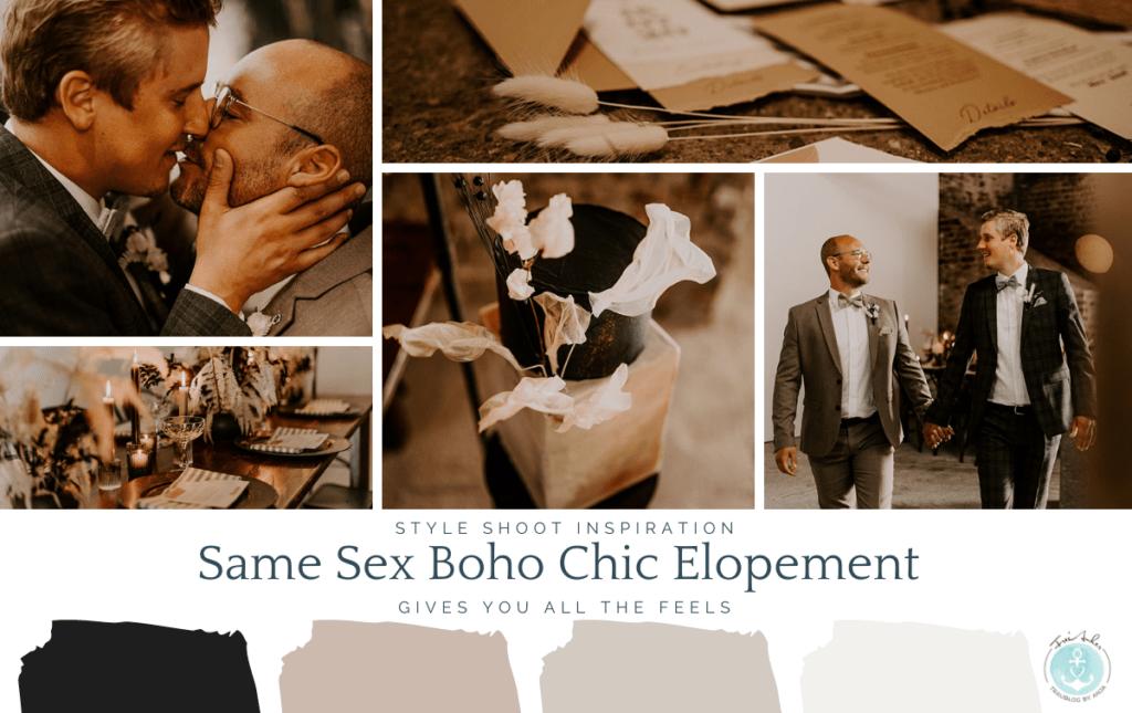 Moodboard same sex boho elopement wedding
