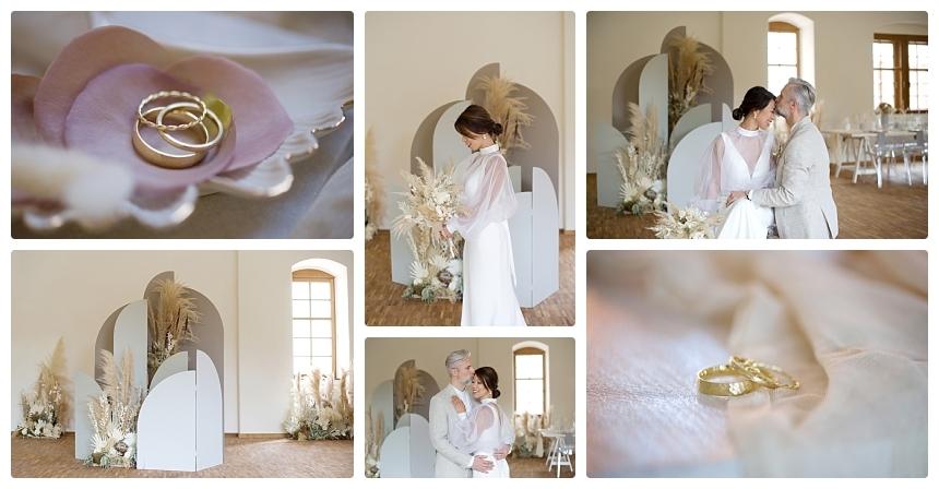 monochrome organic boho castle wedding 3