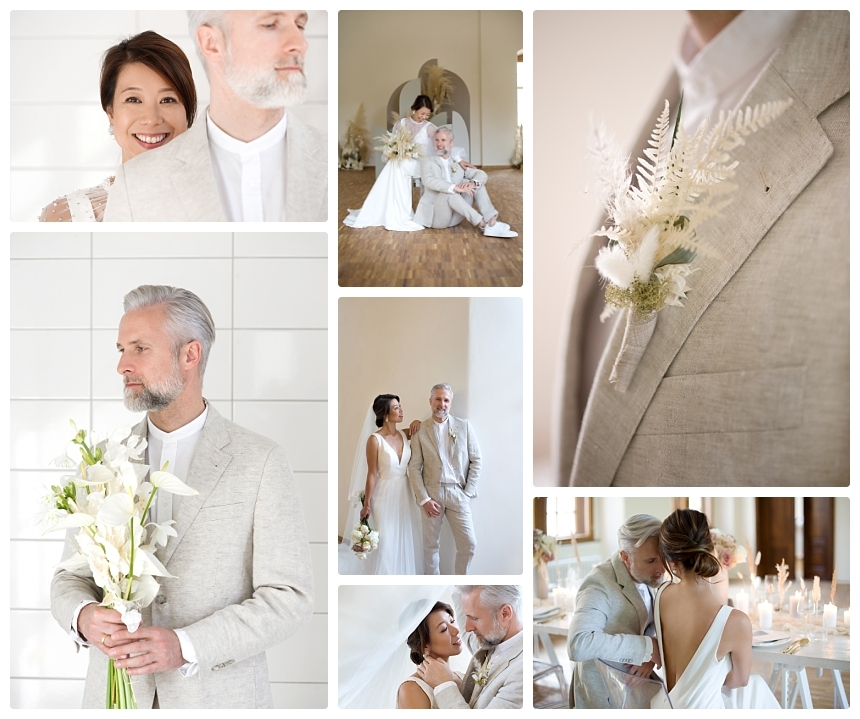 monochrome organic boho castle wedding 8