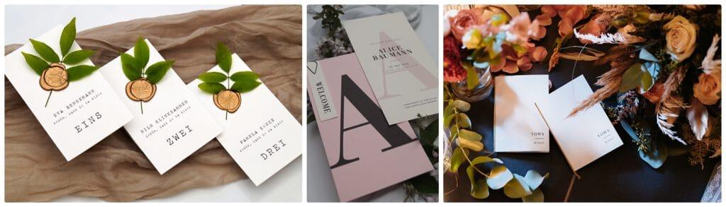 Hochzeitspapeterie 2021 - individuelle Einladungskarten, Menükarten, Save the Date, Getränkekarten