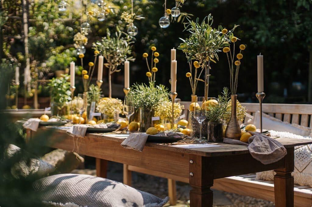 italienische gartenhochzeit gelb zitrone 13