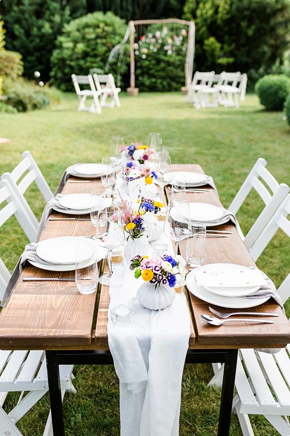 nachhaltige DIY Gartenhochzeit Tischdeko